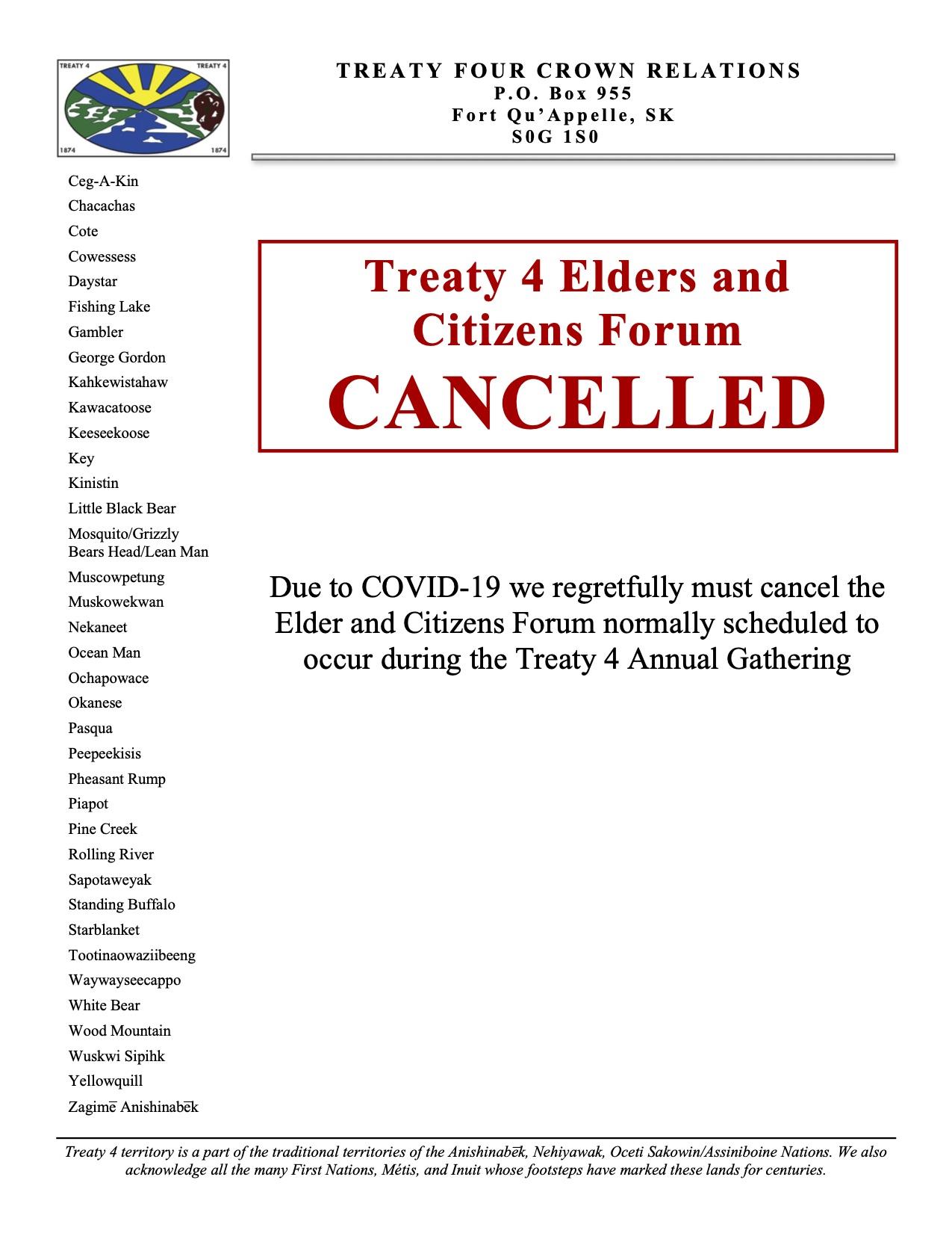 Cancellation Notice T4 Elder and Citizen Forum